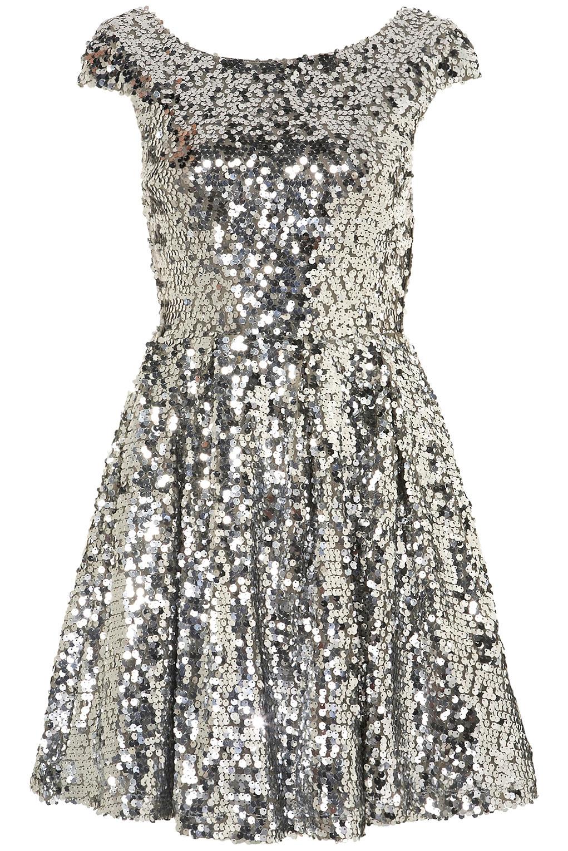 Topshop Sequin Skater Dress in Metallic | Lyst