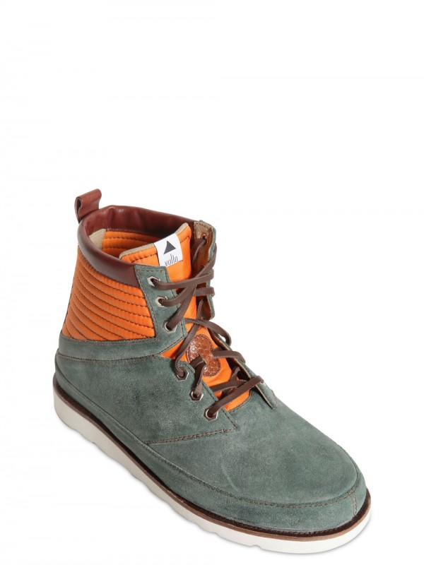 Volta Footwear Waxed Leather Boots With Nylon Inserts In Green For Men Lyst