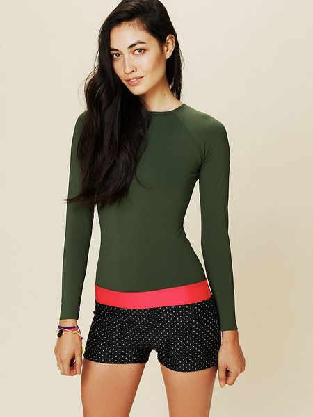Free People Long Sleeve One Piece Surf Suit in Green ...