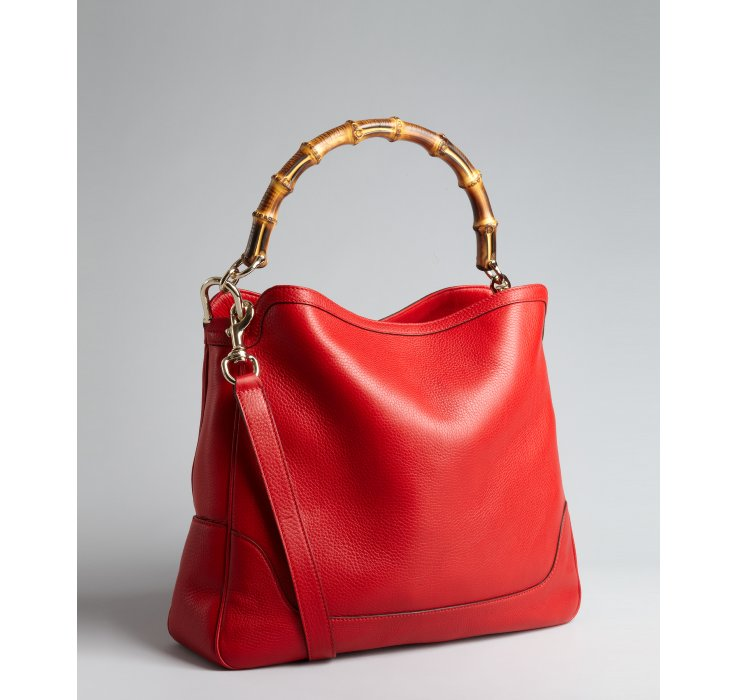 Lyst Gucci Red Leather Diana Bamboo Handle Shoulder Bag