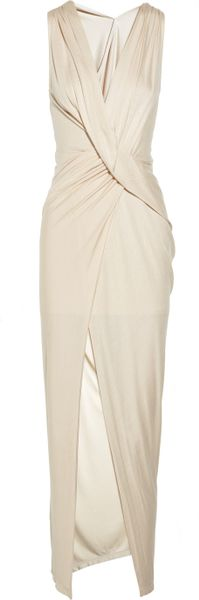 Haute Hippie Draped Jersey Wrap Effect Dress in Beige (cream)