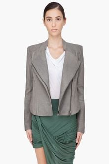 Helmut Lang Grey Wither Leather Jacket - Lyst