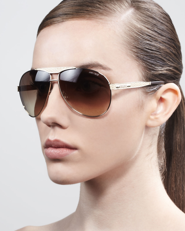 4a7adb596e1 Lyst - Jimmy Choo Dominique Aviator Sunglasses in Metallic