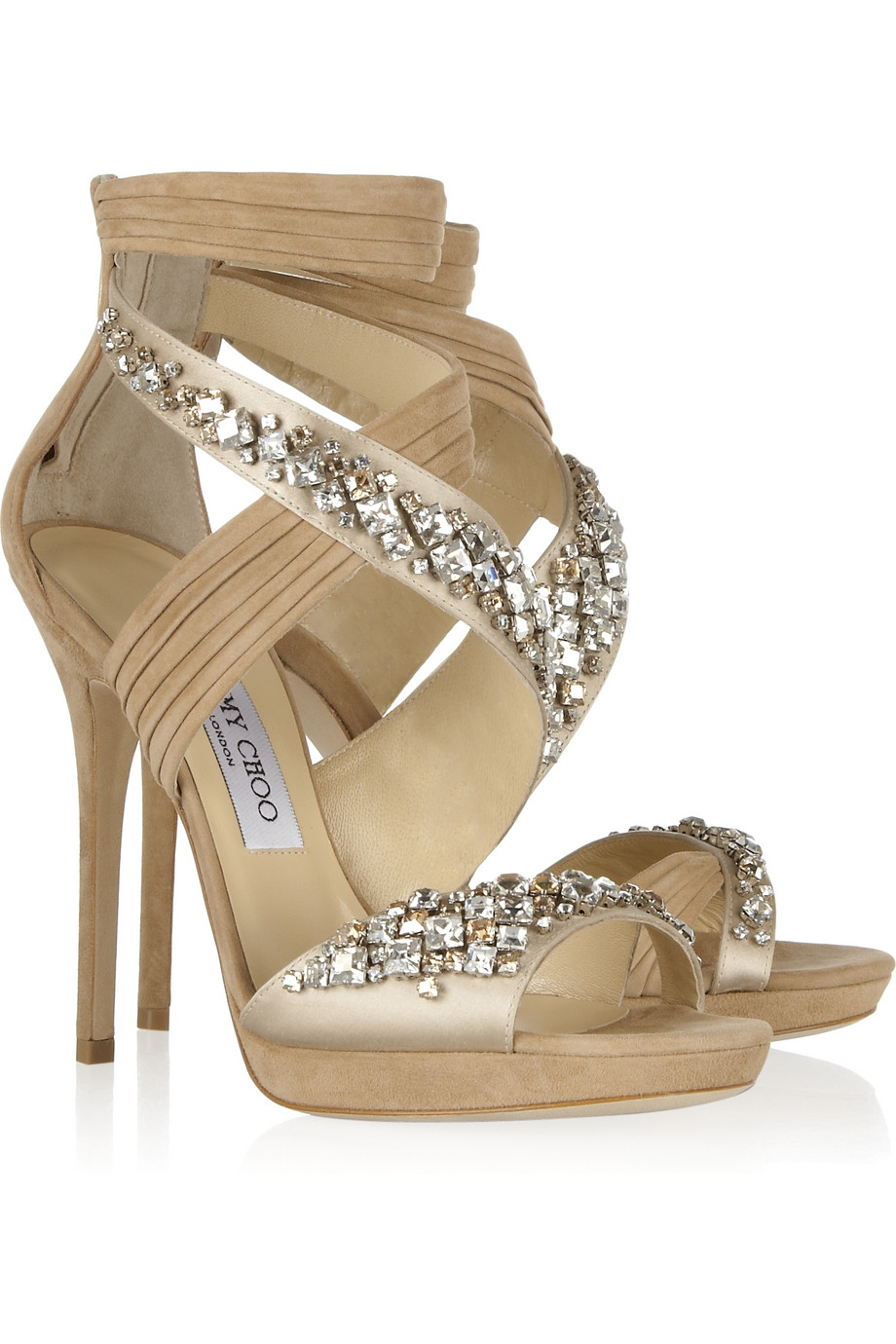 Cheap Jimmy Choo Sandals - Shoes Jimmy Choo Kani Swarovski Crystalembellished Satin And Suede Sandals Sand 1