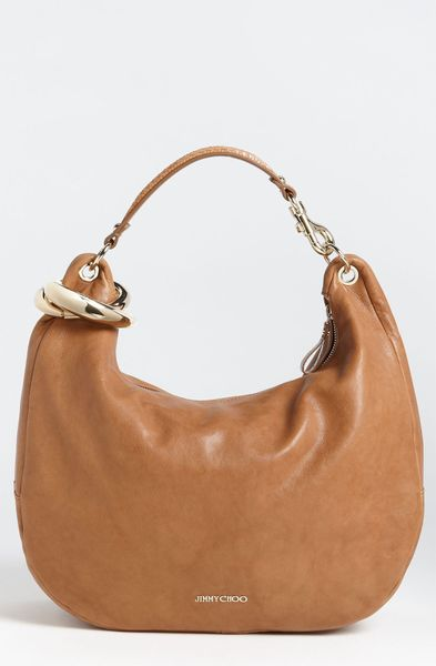 Jimmy Choo Solar Calf Large Leather Hobo in Brown (tan) - Lyst