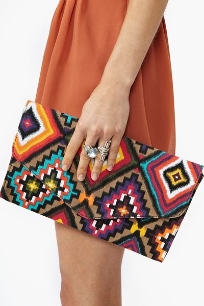 Nasty Gal Ganado Envelope Clutch in Multicolor