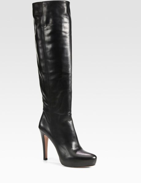 prada leather the knee platform boots in black lyst