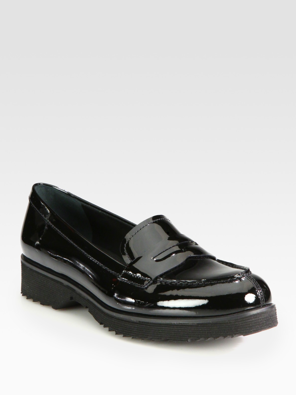 77798b0e76b Lyst - Prada Patent Leather Penny Loafers in Black