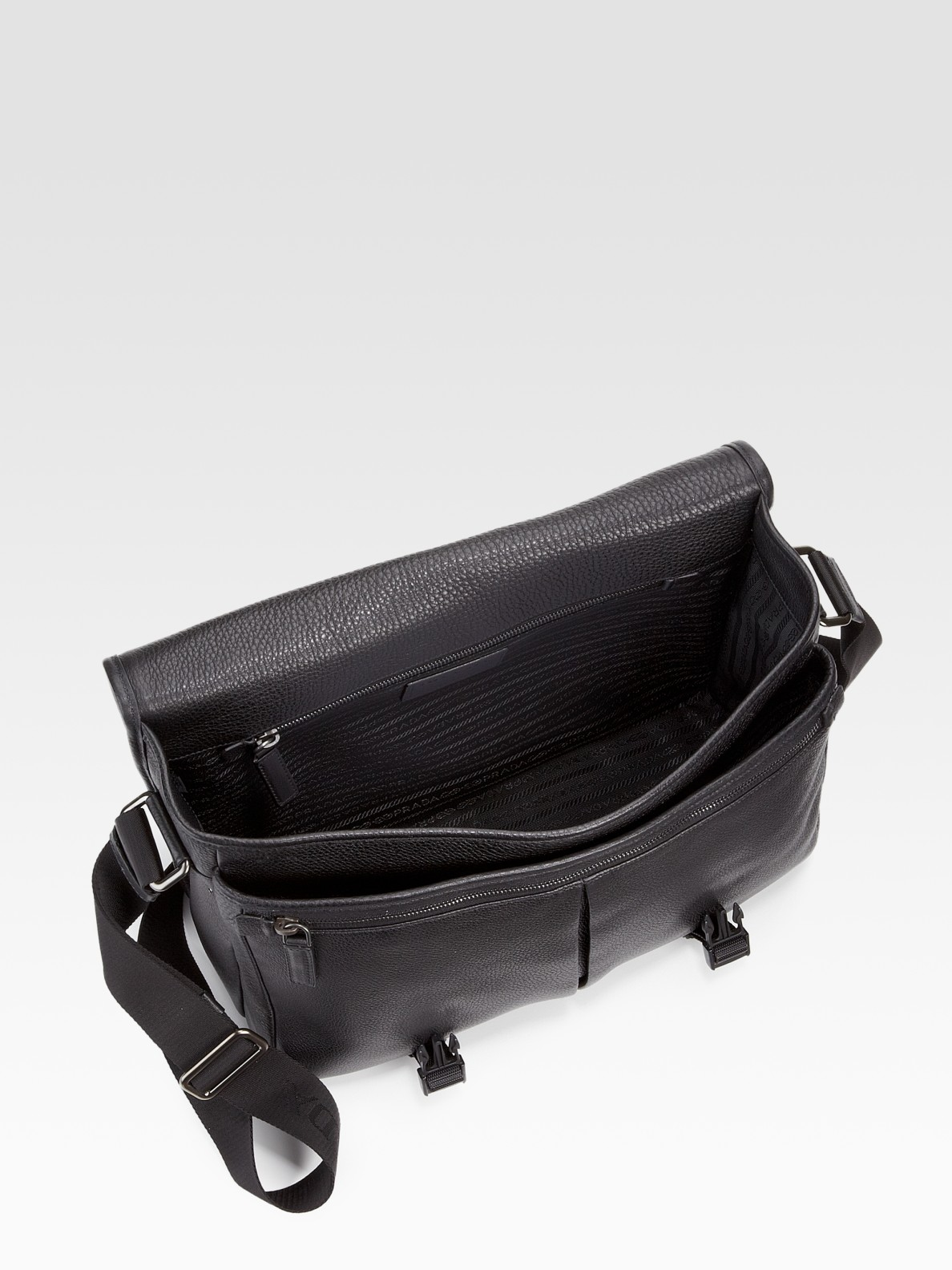 prada leather messenger bag