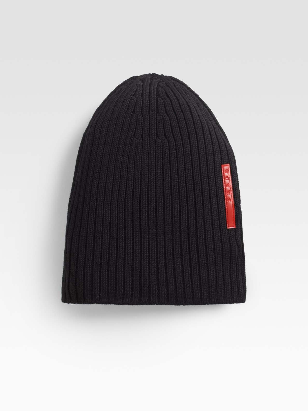 Prada Ribbed Knit Beanie in Black for Men  7a4f15c572bd