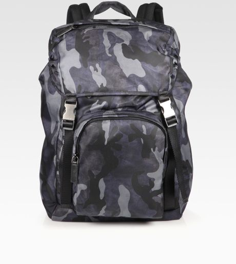 Prada Camo Print Backpack in Blue for Men - Lyst