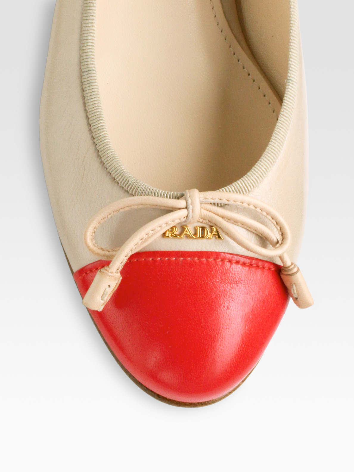 6821cab11c4 Lyst - Prada Bicolor Leather Bow Ballet Flats in Natural