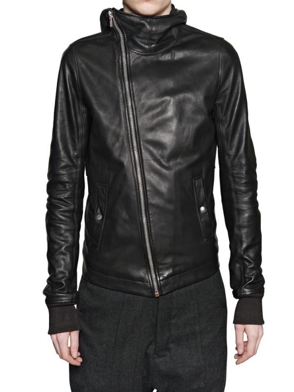 Rick owens leather jacket hooded