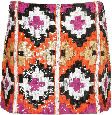 Topshop Premium Aztec Sequin Skirt in Multicolor (multi)