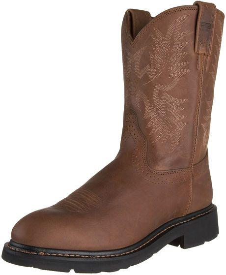 Ariat Mens Sierra Western Work Boot In Brown For Men dusted