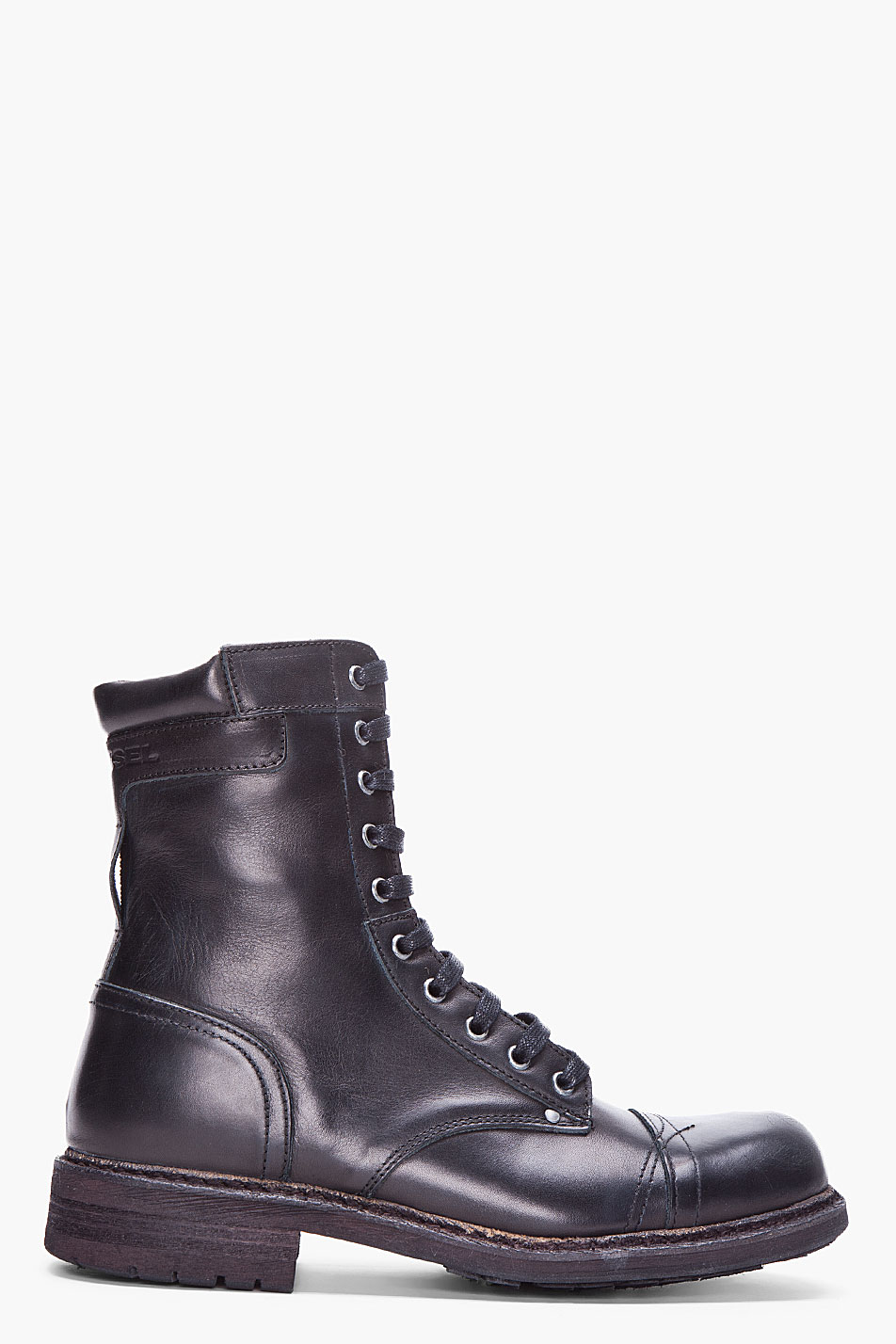 lyst diesel black cassidy military boots in black for men