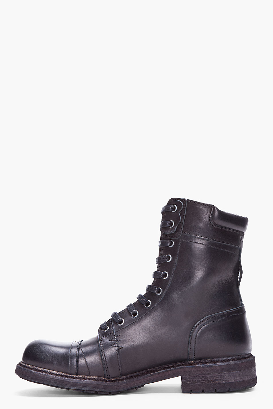 diesel black cassidy military boots in black for men lyst