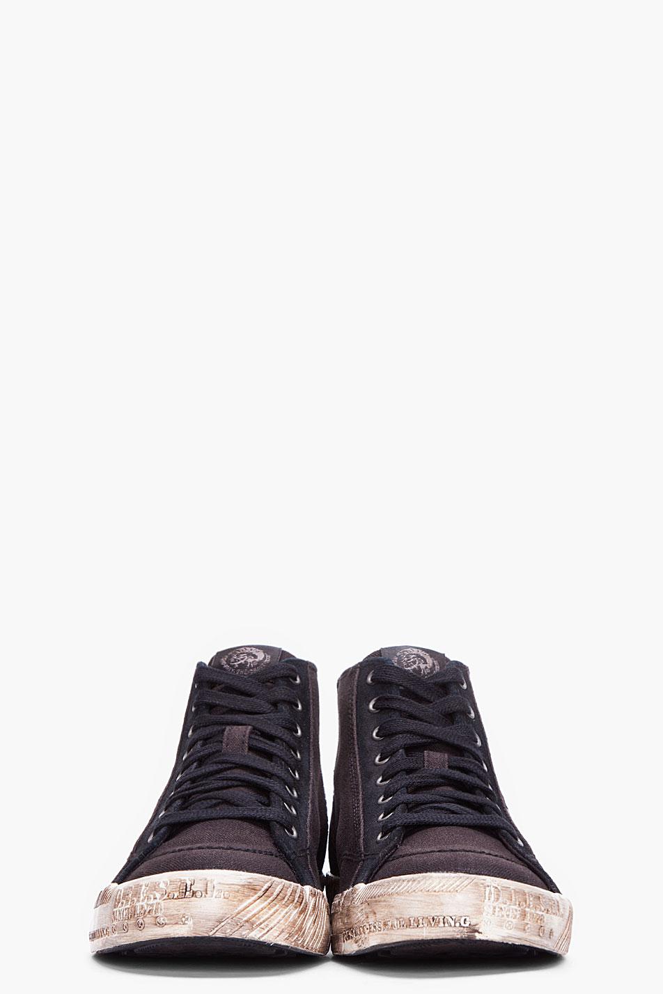 b9c5ee3d1ae0 Lyst - DIESEL Black D78 Midtop Sneakers in Black for Men