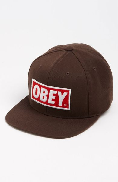obey original snapback hat in brown for lyst