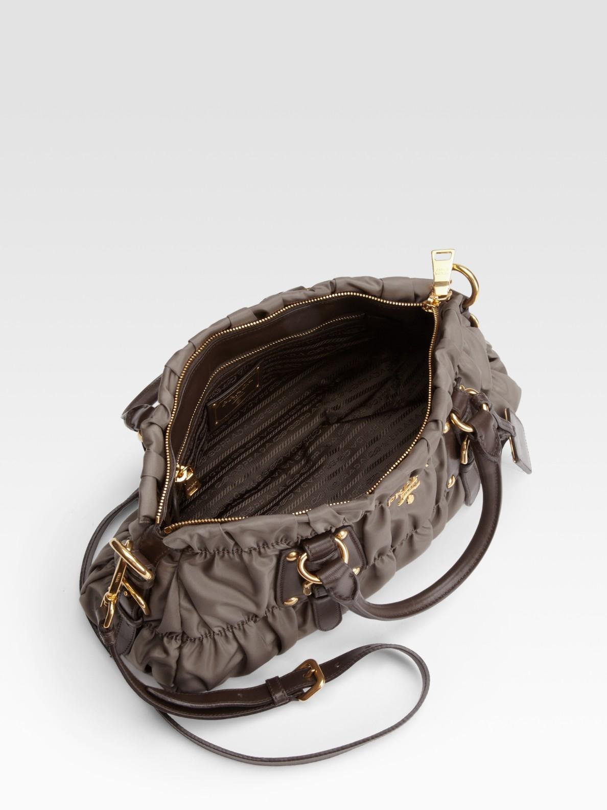 prada black and white handbag - Prada Tessuto Gaufre Nylon Satchel in Gray (grey) | Lyst