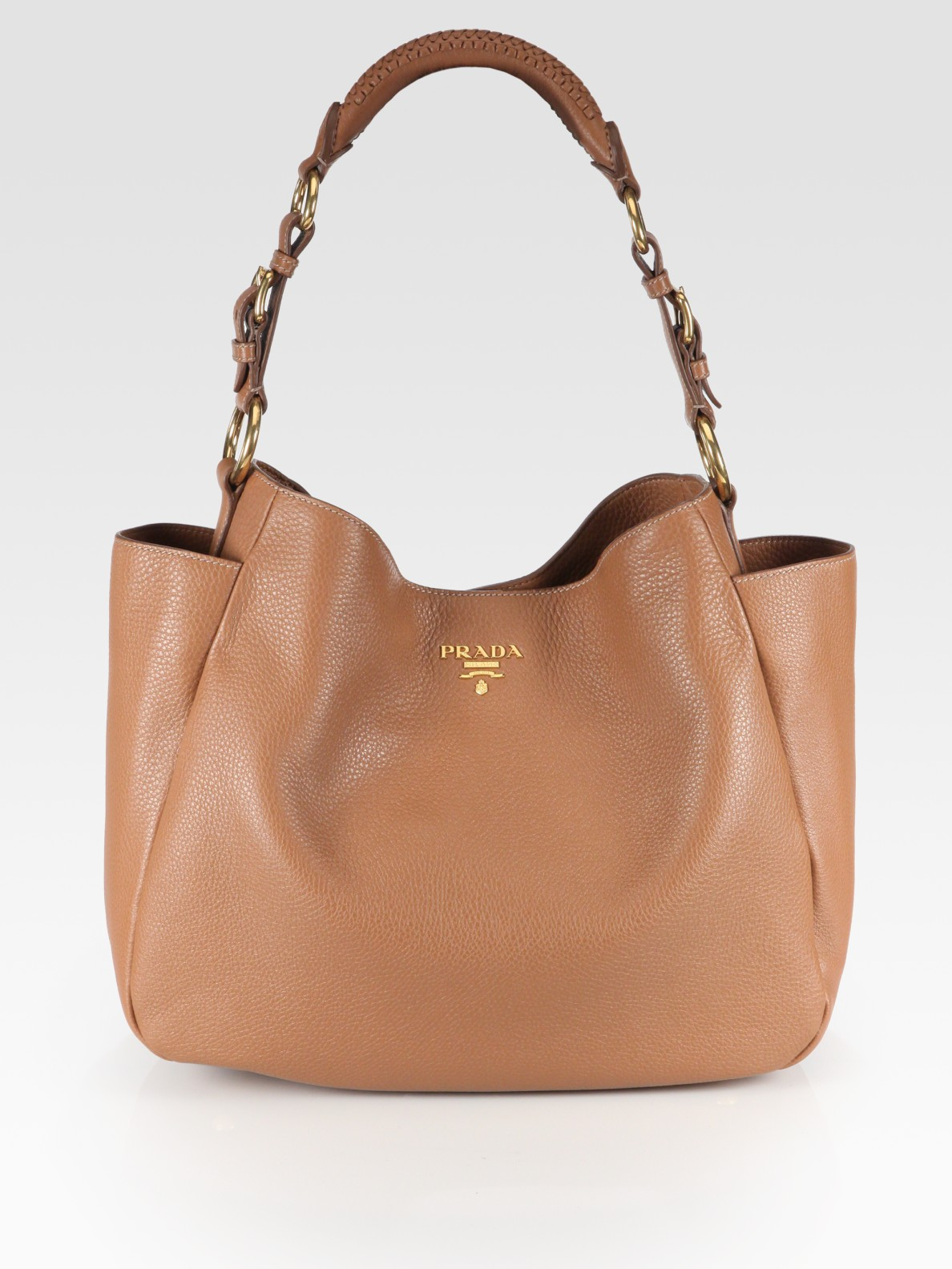41d4465ab25395 Prada Vitello Daino Side Pocket Hobo in Brown - Lyst