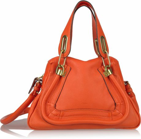 Chloé Paraty Small Leather Bag in Orange