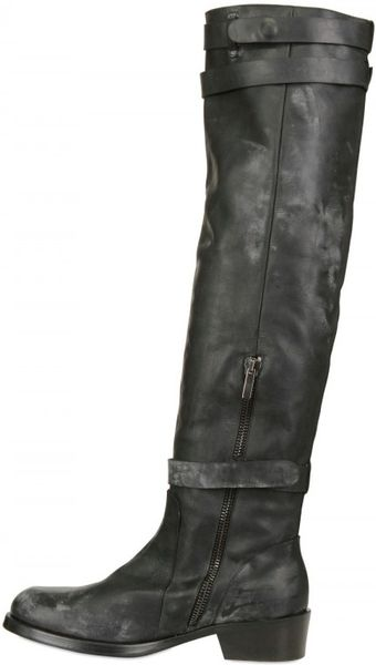 alain quilici knee high leather boots in black for lyst