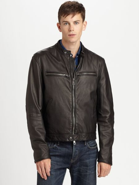 Burberry Brit Leather Motorcycle Jacket In Black For Men Lyst