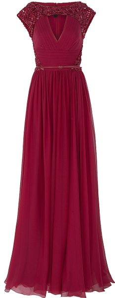 Elie Saab Chiffon Beaded Cap Sleeve Gown in Red (cherry)