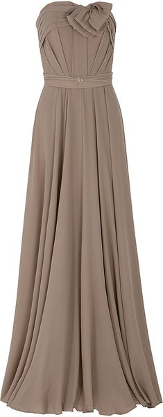 Elie Saab Strapless Bow Gown in Brown (nude)