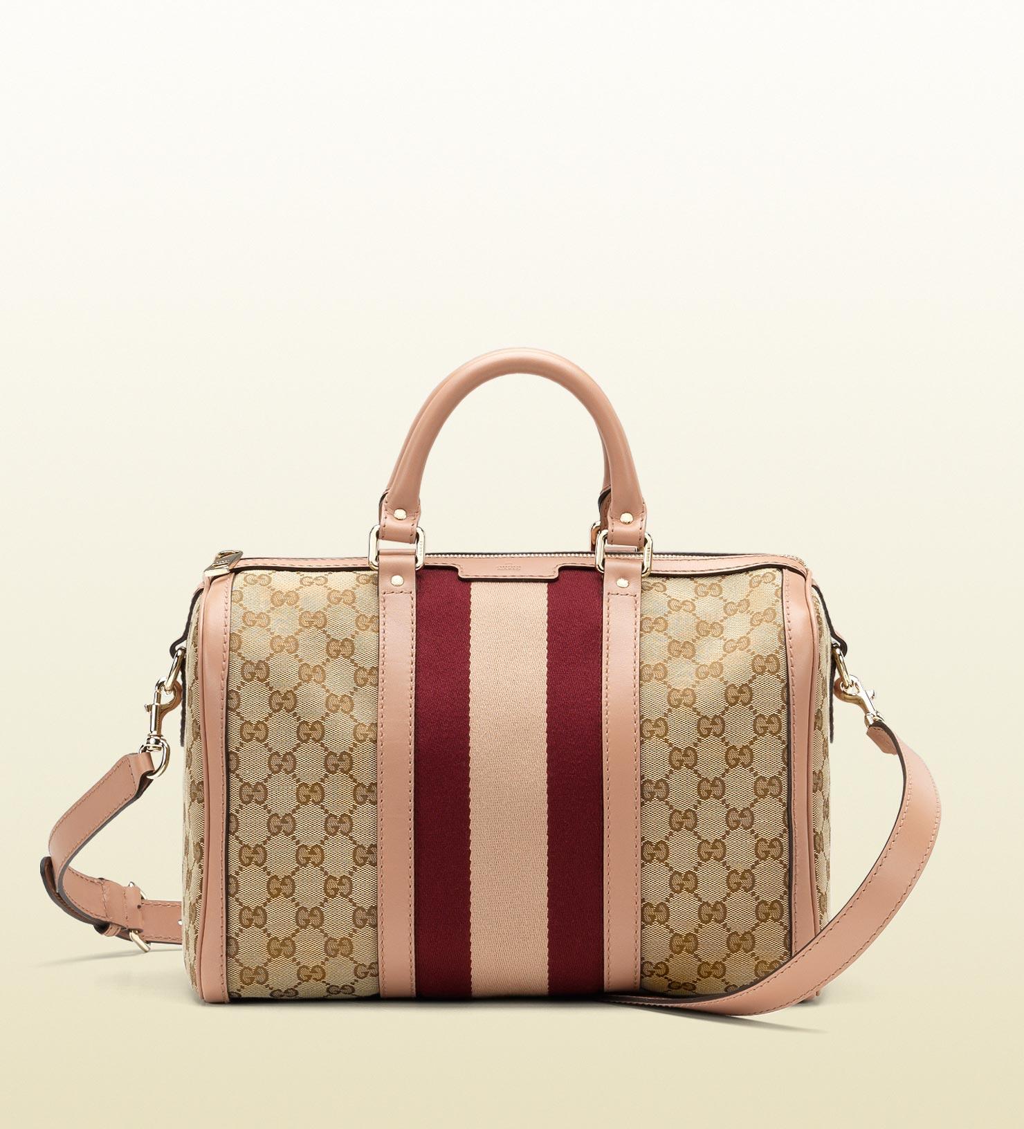 gucci vintage web boston bag in beige brown