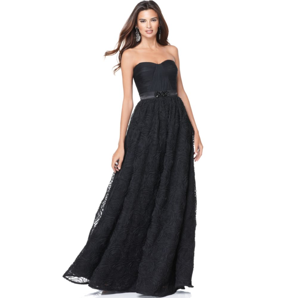 Lyst Adrianna Papell Strapless Evening Gown In Black