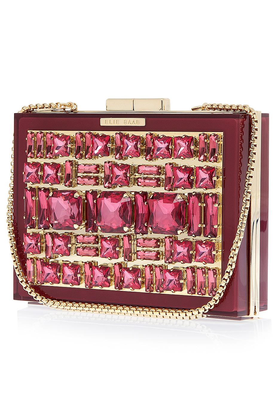 Elie Saab Box Crystal Clutch Bag In Red Lyst