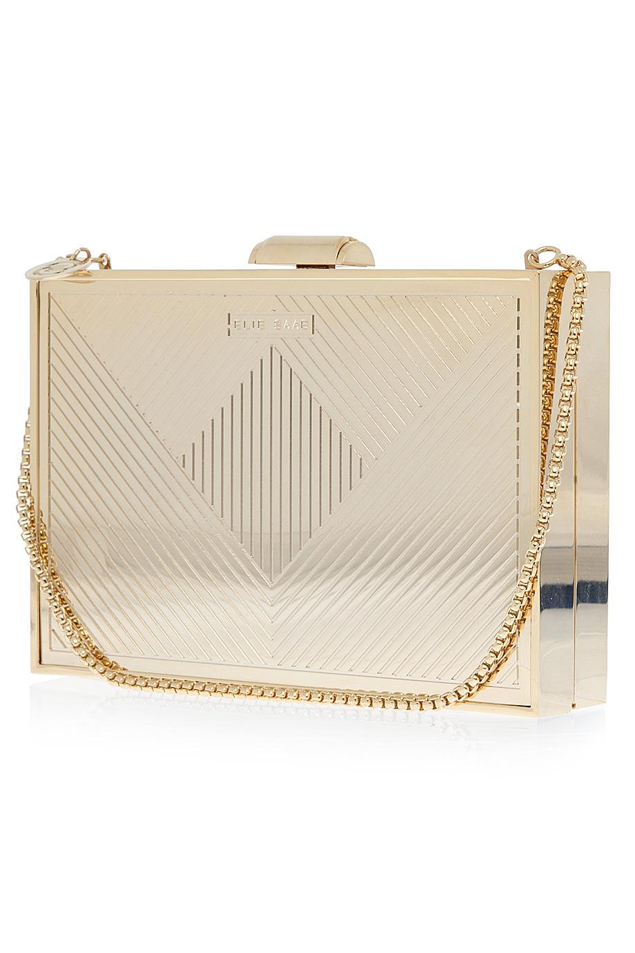 Elie Saab Gold Metallic Box Clutch Bag Lyst