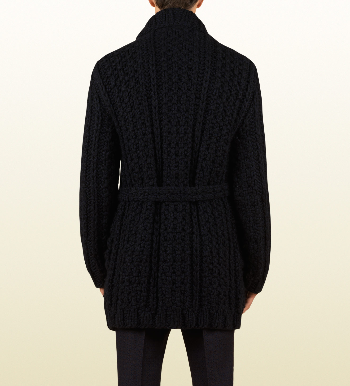 Gucci Oversized Wool Cardigan Sweater Coat in Black for Men | Lyst