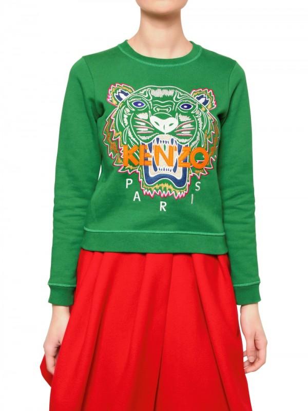 5b5ccfa6db1 KENZO Green Tiger Cotton Fleece Sweatshirt