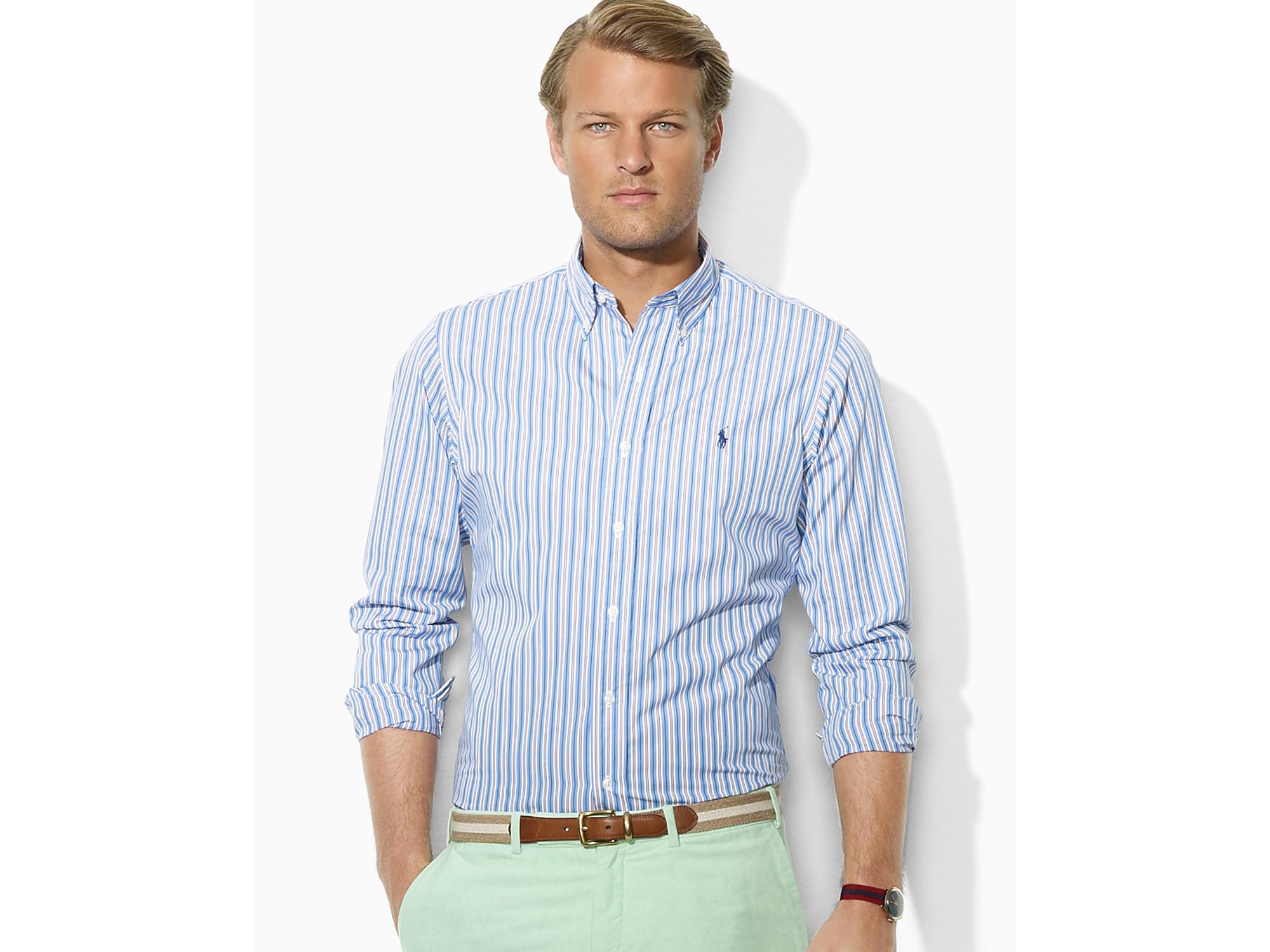 4e56c635ad5 Polo Ralph Lauren Customfit Stripe Poplin Shirt in Blue for Men - Lyst
