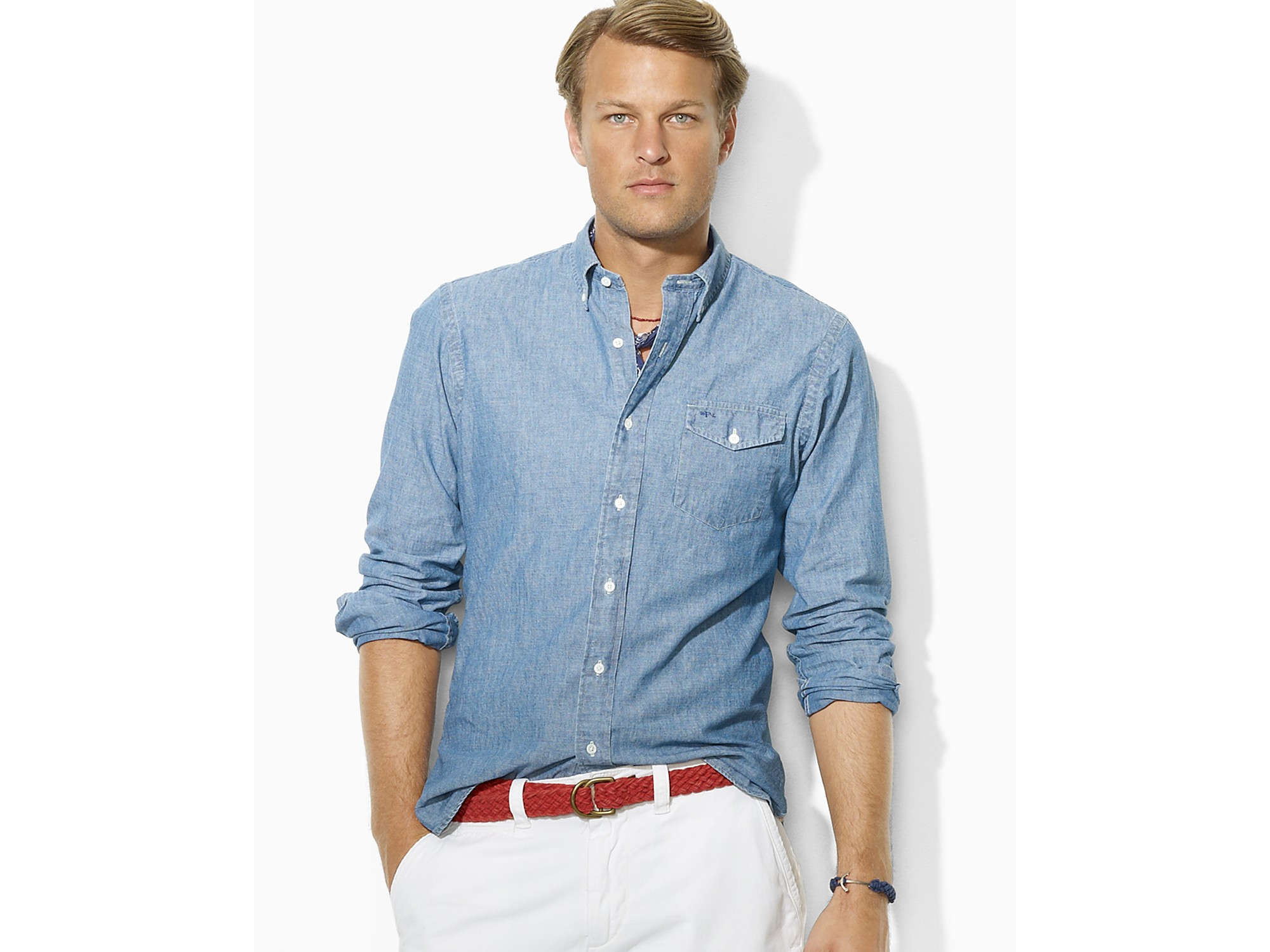 polo ralph lauren slim fit cotton chambray shirt in blue. Black Bedroom Furniture Sets. Home Design Ideas