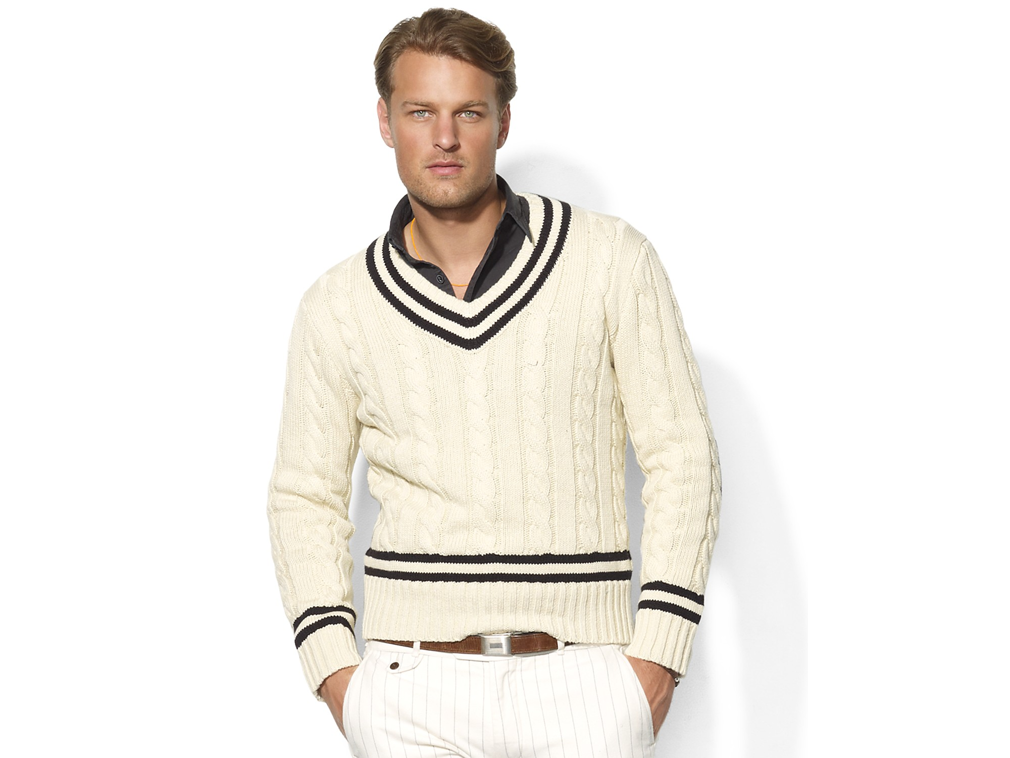 78486e90634268 Polo Ralph Lauren Longsleeved Cabled Cotton Vneck Cricket Sweater in ...