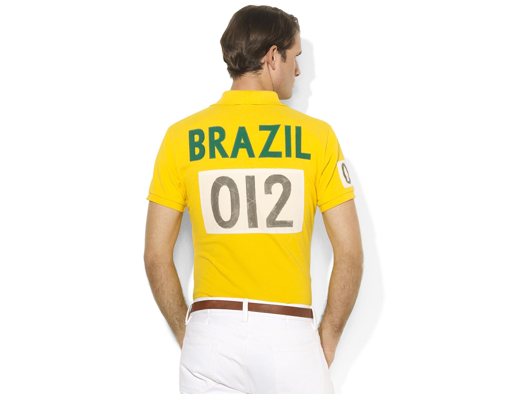 Country For Lauren Mesh Polo Ralph Brazil Yellow Men UMpLqSzVG