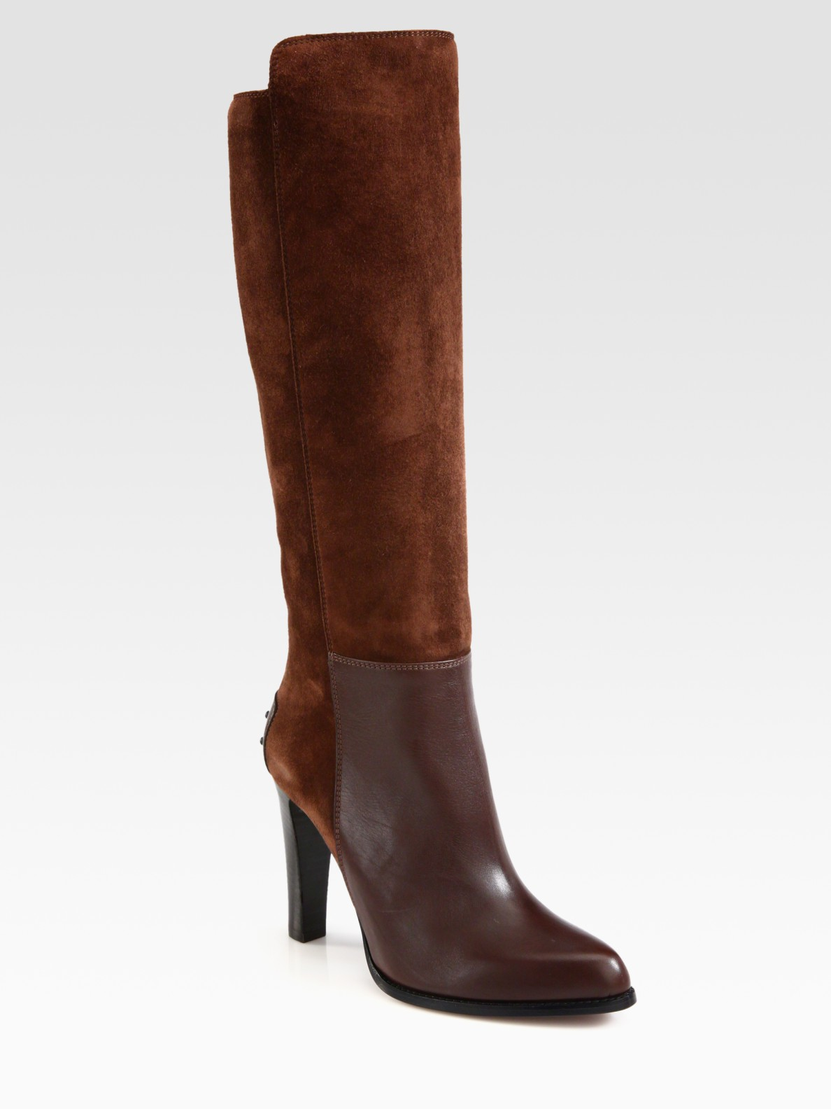 tod s suede and leather kneehigh platform boots in brown