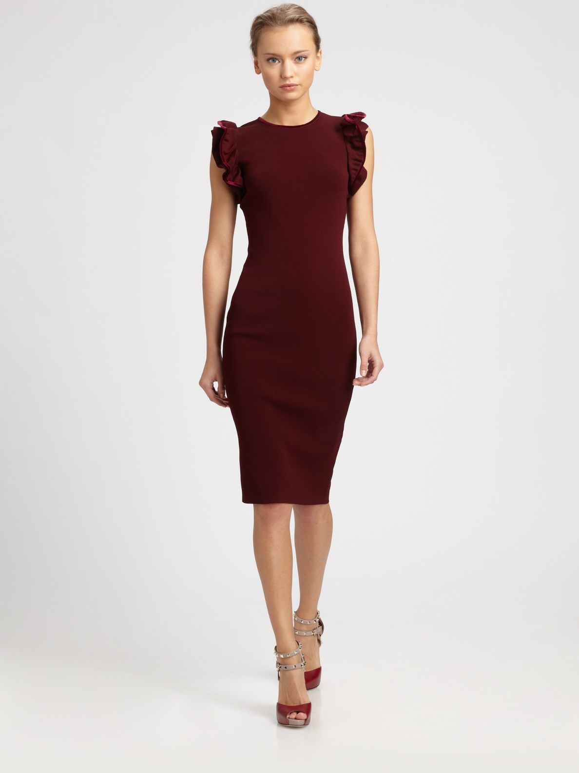 ab3defe5 Valentino Ruffle Sleeve Dress in Red - Lyst