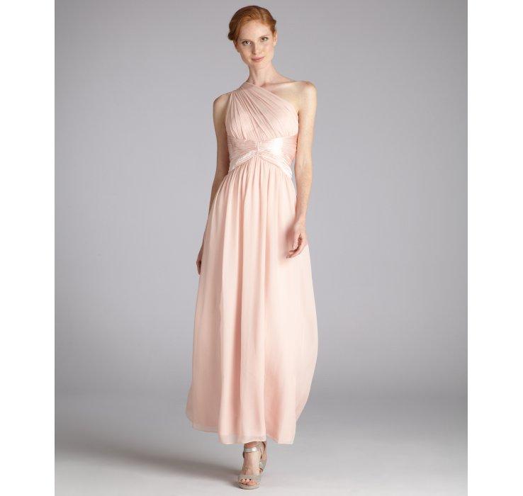 Blush Pink One Shoulder Chiffon Dress