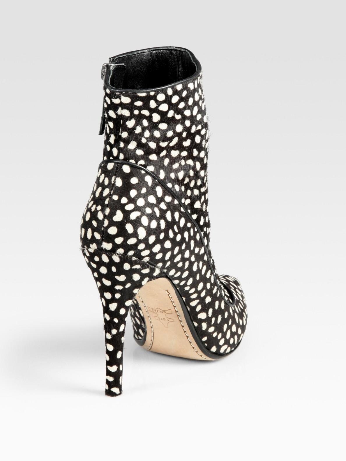 Lyst Alice Olivia Polkadot Print Calf Hair Ankle Boots