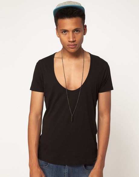asos t shirt with deep scoop neck in black for men lyst