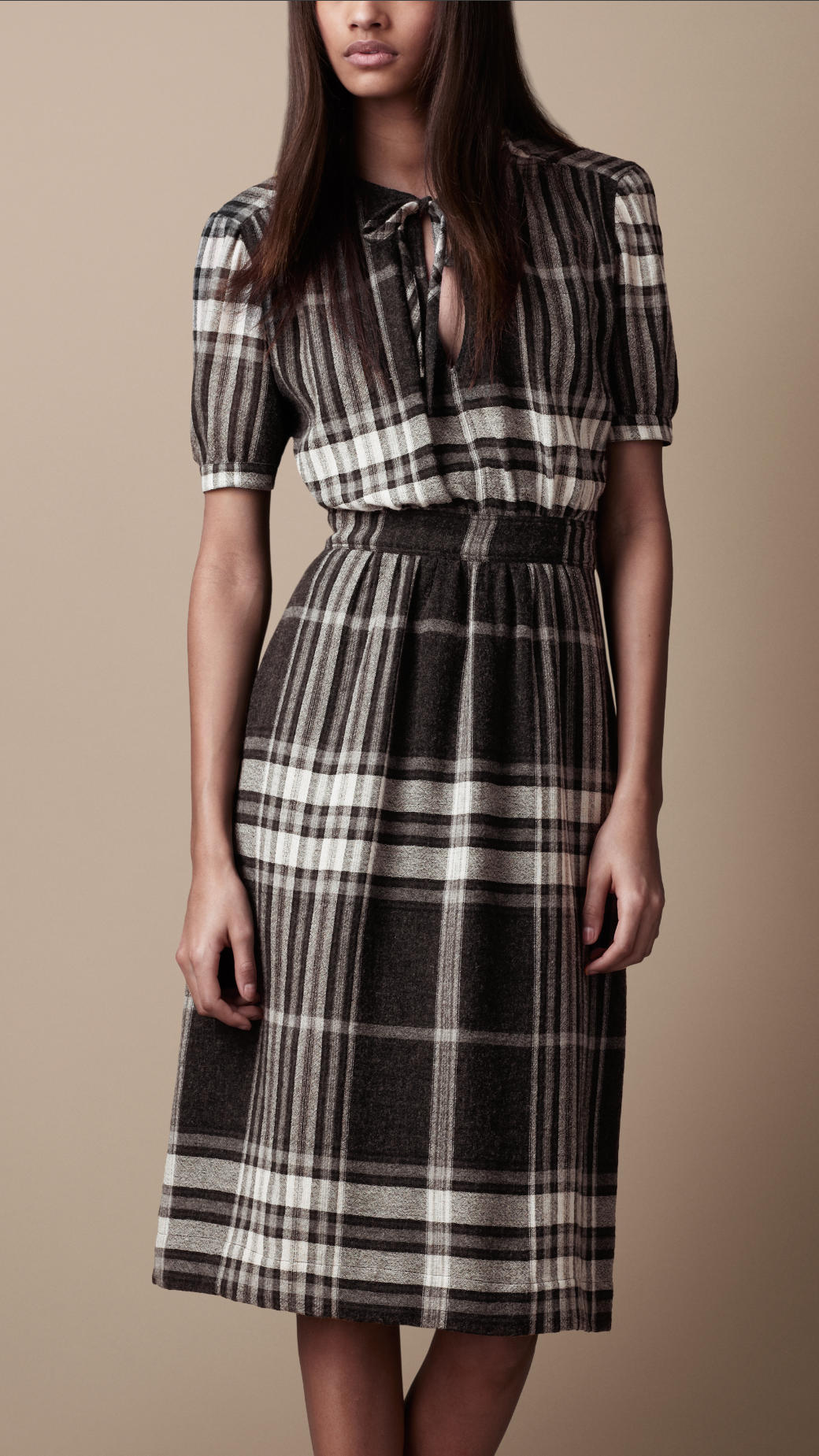 Lyst Burberry Brit Check Crepe Dress In Gray