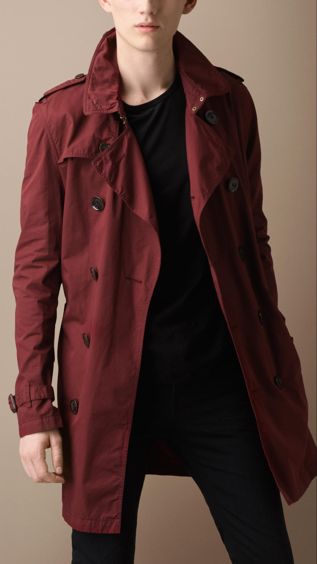 Burberry Brit Midlength Cotton Twill Trench Coat in Red ...