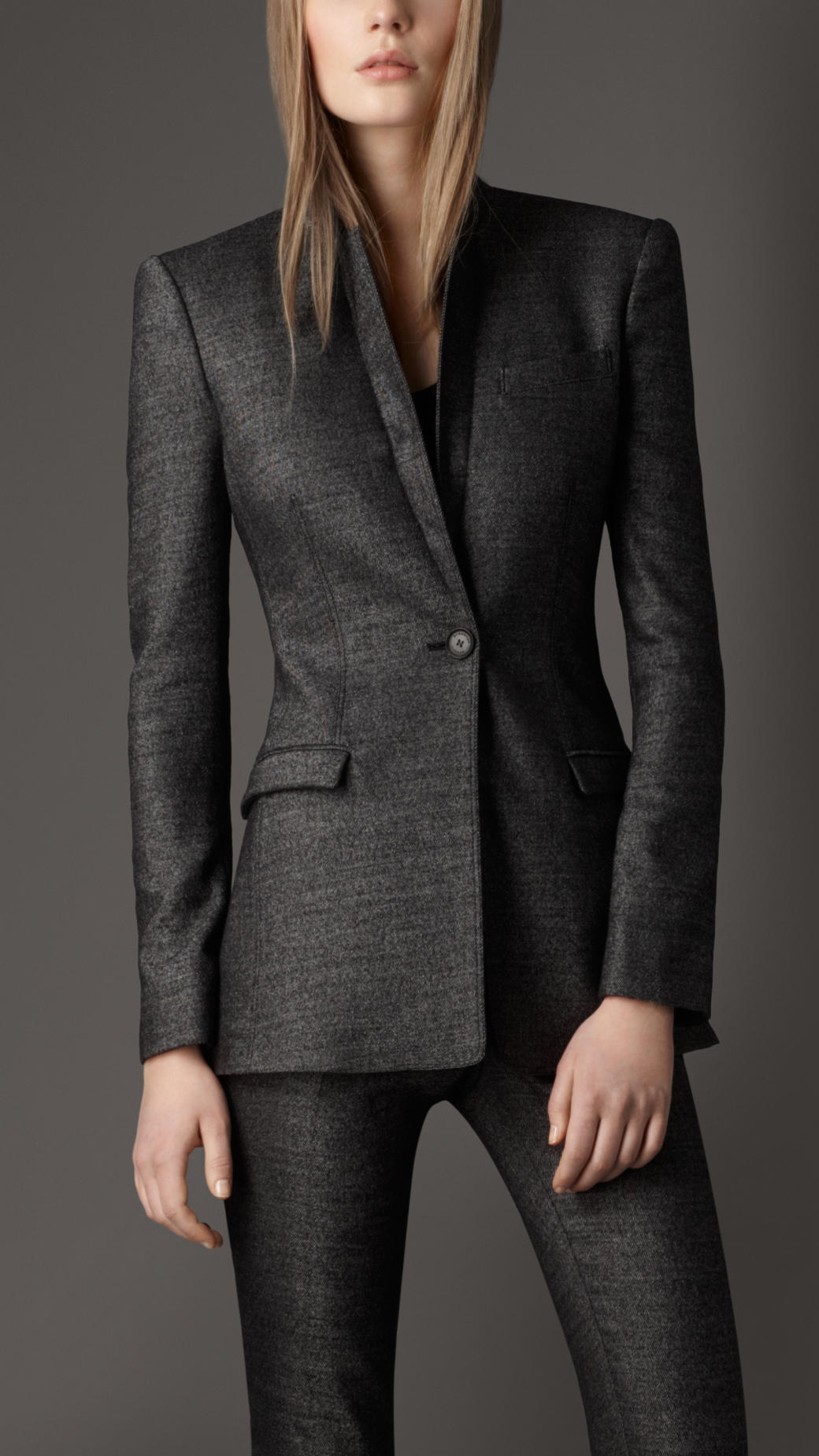 Lyst Burberry Wool Twill Tailored Jacket In Gray