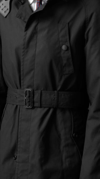 Burberry Prorsum Corduroy Collar Waxed Cotton Trench Coat