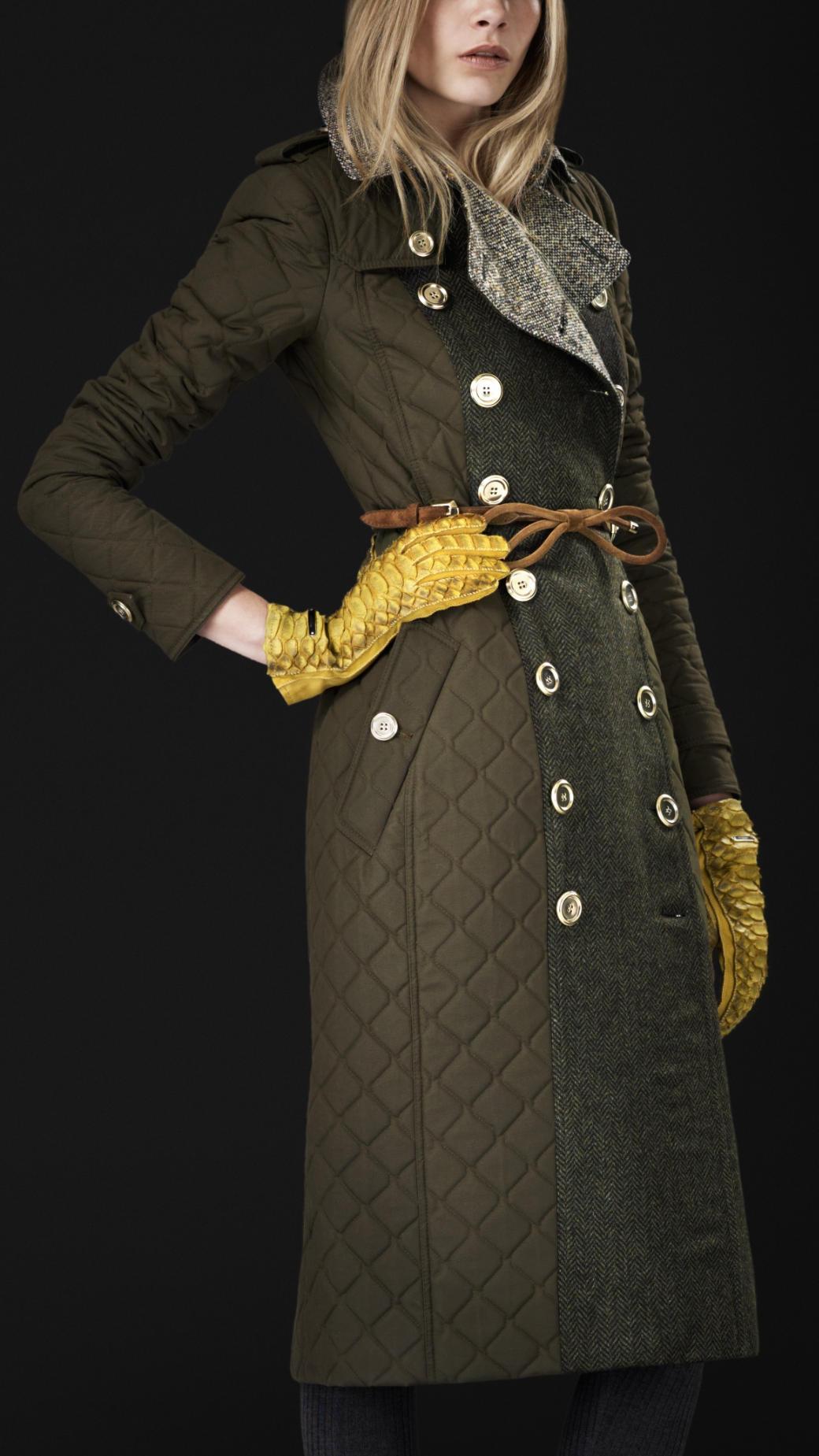 Burberry Prorsum Blanket Quilt Trench Coat In Green Lyst